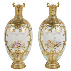 Pair large exhibition quality Royal Crown Derby Vases, 1891, by Brownswood