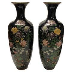 Pair Large Floral Decorated Japanese Cloisonné Vases