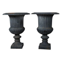 Pair of Large French Classical Black Painted Cast Iron Garden Urns, 20th Century