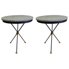 Large French Modern Neoclassical Gilt Iron Side Tables, Style of Poillerat, Pair