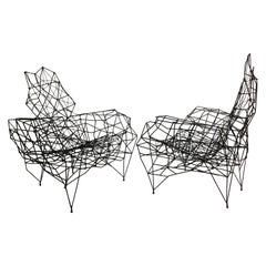 Pair, Large French Artist Wrought Iron & Rope Sculpture Lounge Chairs, Ron Arad