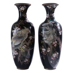 Pair of Large Japanese Cloisonné Vases Depicting Exotic Birds