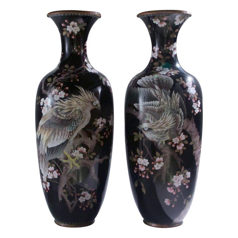 Pair of Large Japanese Cloisonné Vases Depicting Exotic Birds For Sale