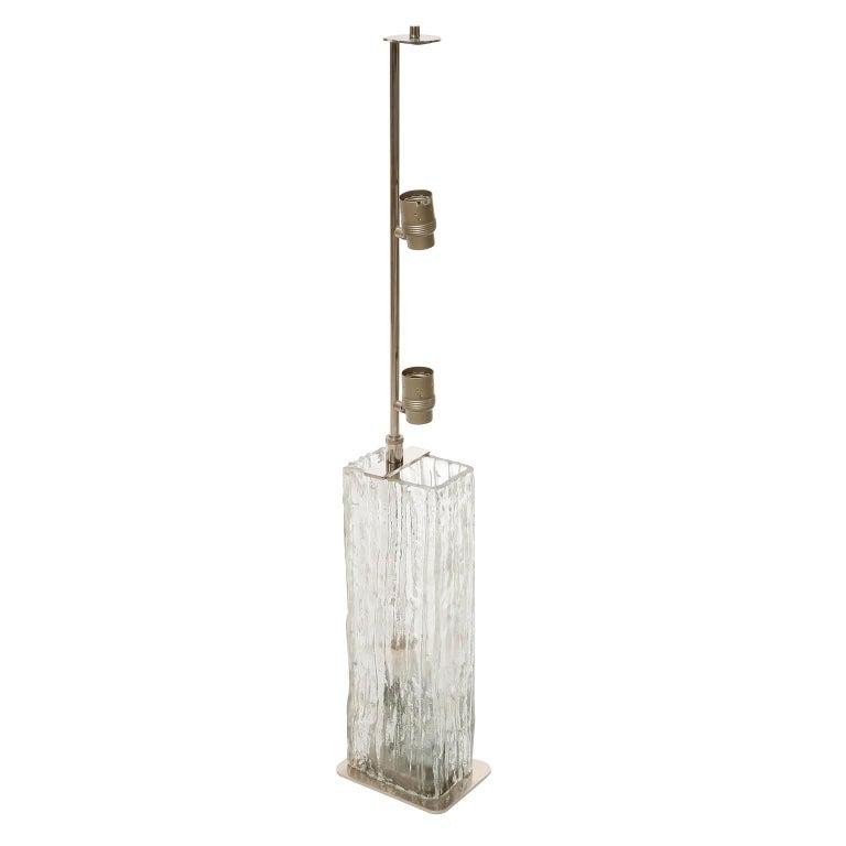 Mid-Century Modern Pair Large Kalmar Ice Glass Table Lamps 'Frankenberg', Glass Nickel, 1970 For Sale