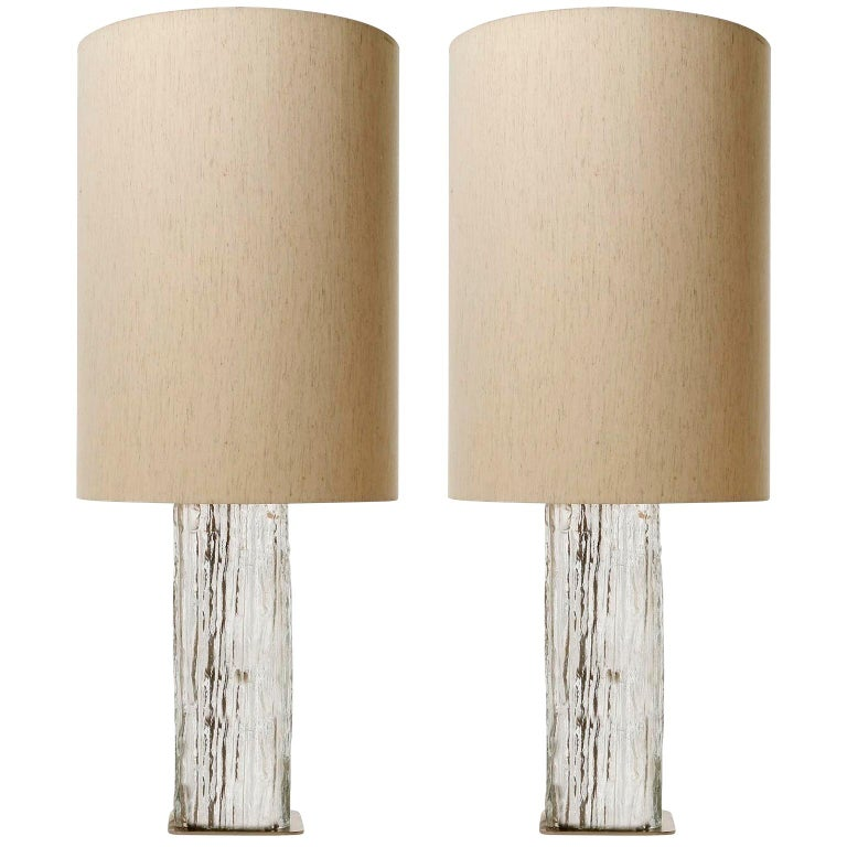 Pair Large Kalmar Ice Glass Table Lamps 'Frankenberg', Glass Nickel, 1970 For Sale