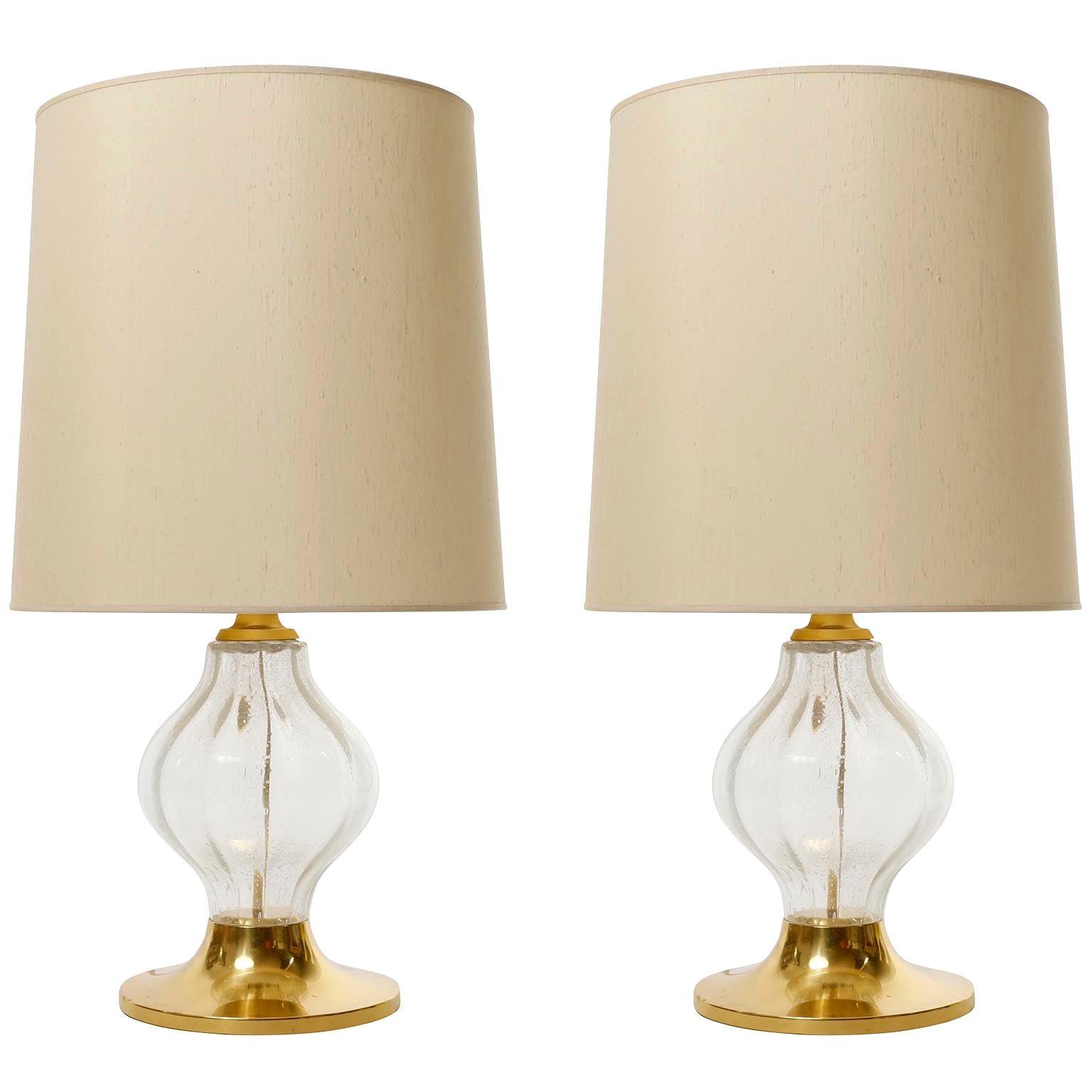 Pair Large Kalmar 'Tulipan' Table Lamps, Glass Brass, 1970