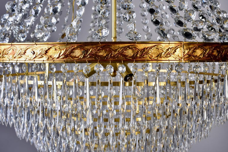 Large Midcentury Italian Wedding Cake Style Brass and Crystal Chandeliers, Pair For Sale 5