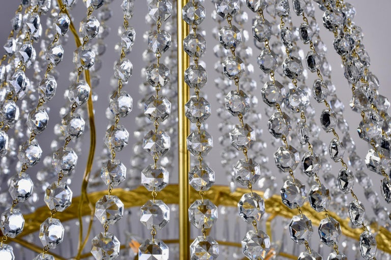 Large Midcentury Italian Wedding Cake Style Brass and Crystal Chandeliers, Pair For Sale 6