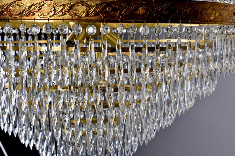 Large Midcentury Italian Wedding Cake Style Brass and Crystal Chandeliers, Pair For Sale 8