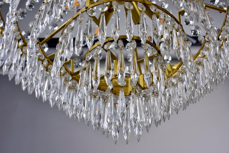 Large Midcentury Italian Wedding Cake Style Brass and Crystal Chandeliers, Pair For Sale 9