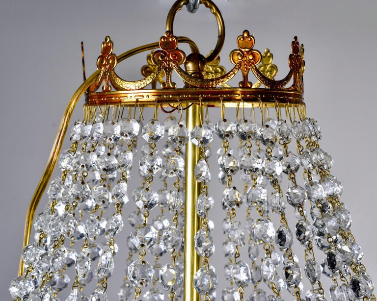 Large Midcentury Italian Wedding Cake Style Brass and Crystal Chandeliers, Pair For Sale 10
