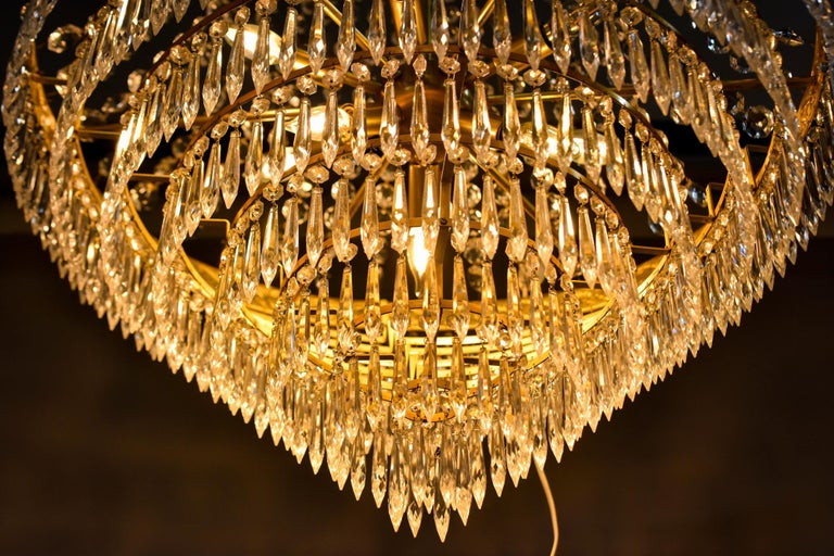 Large Midcentury Italian Wedding Cake Style Brass and Crystal Chandeliers, Pair For Sale 12