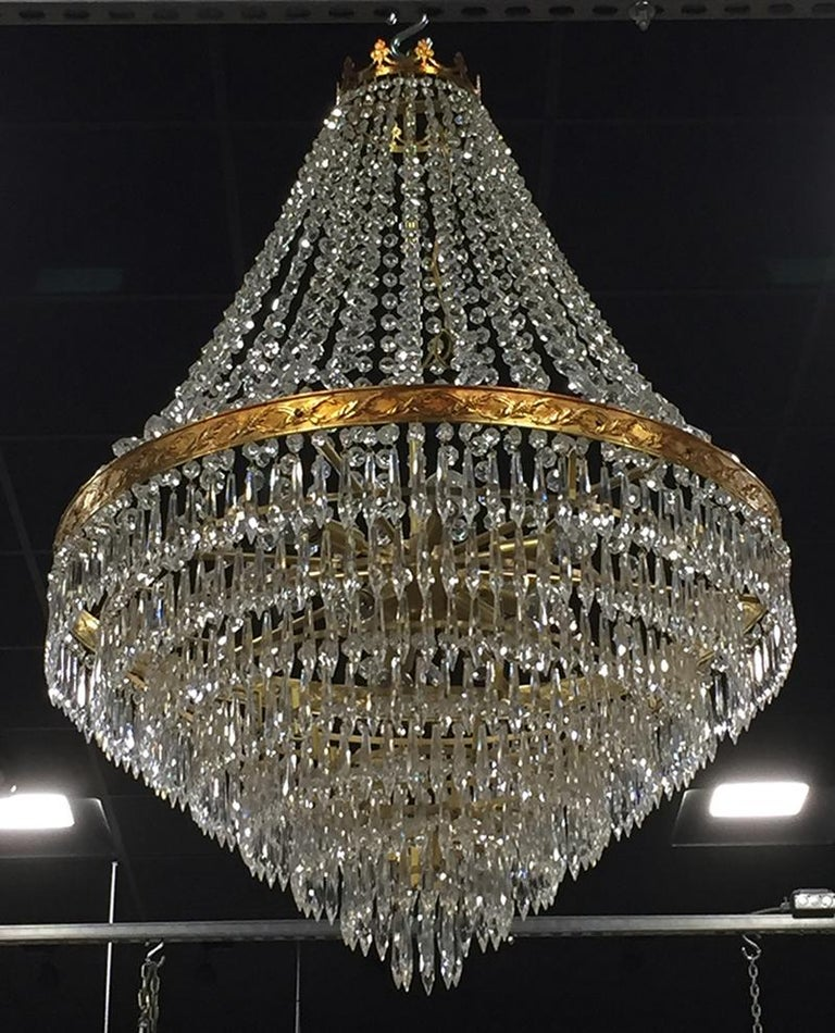 Large Midcentury Italian Wedding Cake Style Brass and Crystal Chandeliers, Pair In Good Condition For Sale In Troy, MI