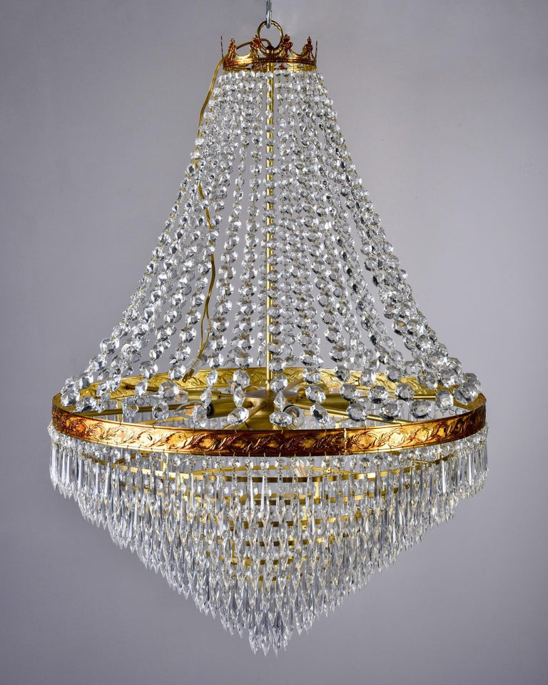 Large Midcentury Italian Wedding Cake Style Brass and Crystal Chandeliers, Pair For Sale 2