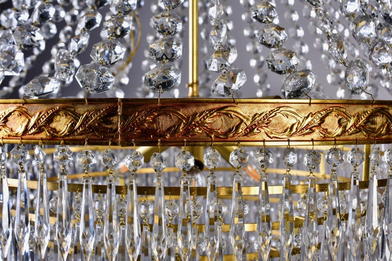 Large Midcentury Italian Wedding Cake Style Brass and Crystal Chandeliers, Pair For Sale 3
