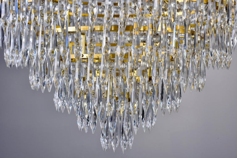 Large Midcentury Italian Wedding Cake Style Brass and Crystal Chandeliers, Pair For Sale 4