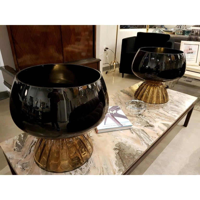 Italian Large Mid-Century Modern Murano Black/Brown Glass Cenedese Style Lamps 1960 For Sale