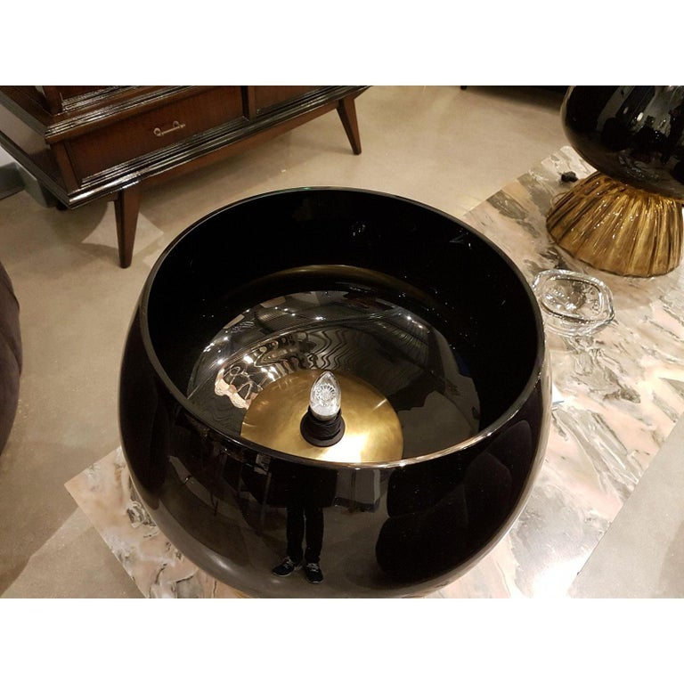 Large Mid-Century Modern Murano Black/Brown Glass Cenedese Style Lamps 1960 In Excellent Condition For Sale In Dallas, TX