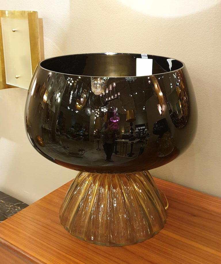 Brass Large Mid-Century Modern Murano Black/Brown Glass Cenedese Style Lamps 1960 For Sale