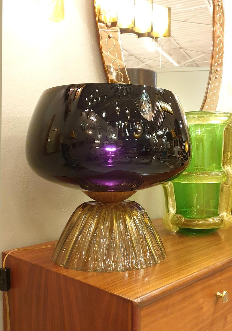Large Mid-Century Modern Murano Black/Brown Glass Cenedese Style Lamps 1960 For Sale 1