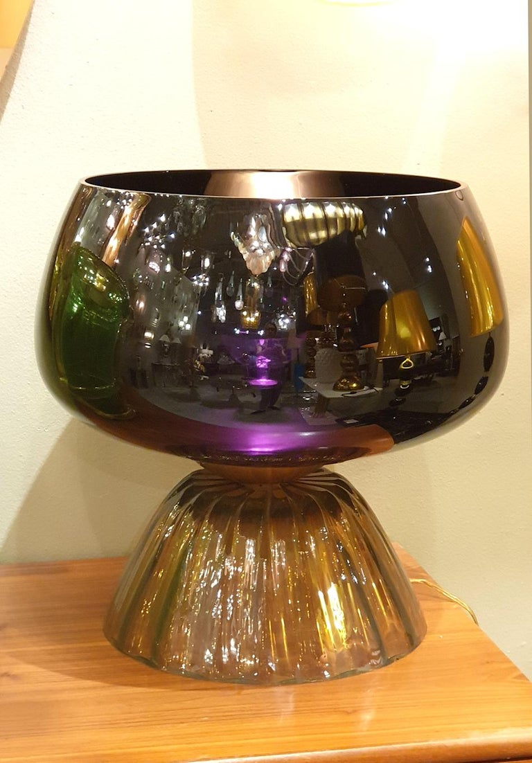Large Mid-Century Modern Murano Black/Brown Glass Cenedese Style Lamps 1960 For Sale 2