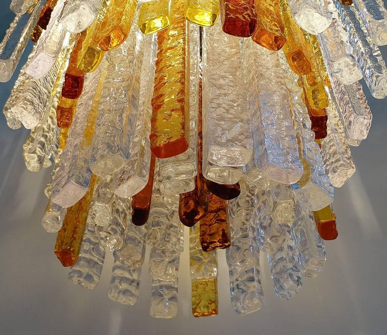 Pair Large Mid-Century Modern Mazzega Murano Glass Chandeliers, Gio Ponti Era For Sale 4