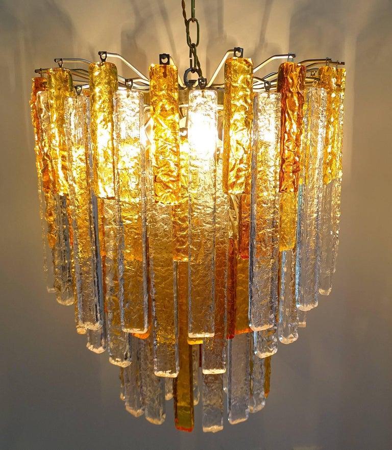 Pair Large Mid-Century Modern Mazzega Murano Glass Chandeliers, Gio Ponti Era For Sale 6
