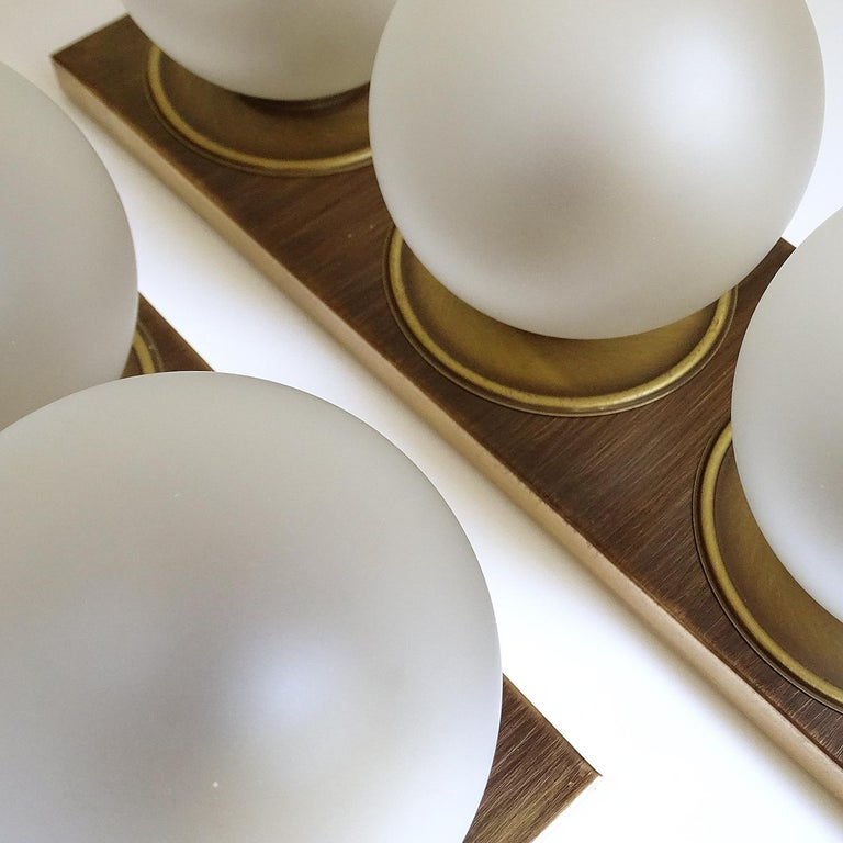 Pair Large MidCentury  Kaiser Glass Globe and Brass Sconces Wall Lights , 1960s For Sale 6