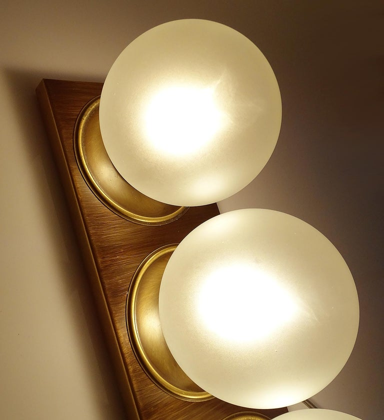 Pair Large MidCentury  Kaiser Glass Globe and Brass Sconces Wall Lights , 1960s For Sale 8