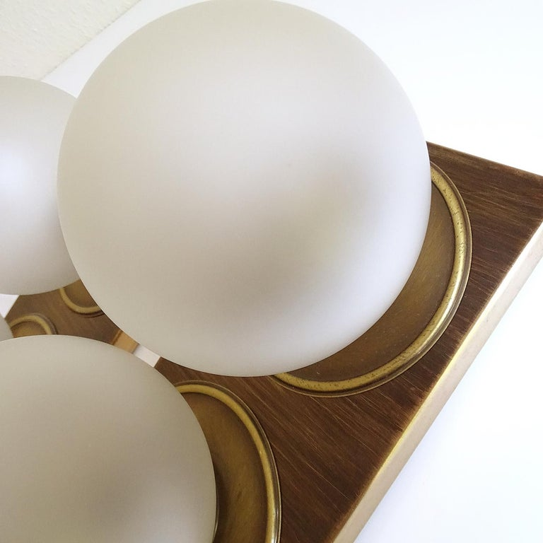 Pair Large MidCentury  Kaiser Glass Globe and Brass Sconces Wall Lights , 1960s For Sale 9