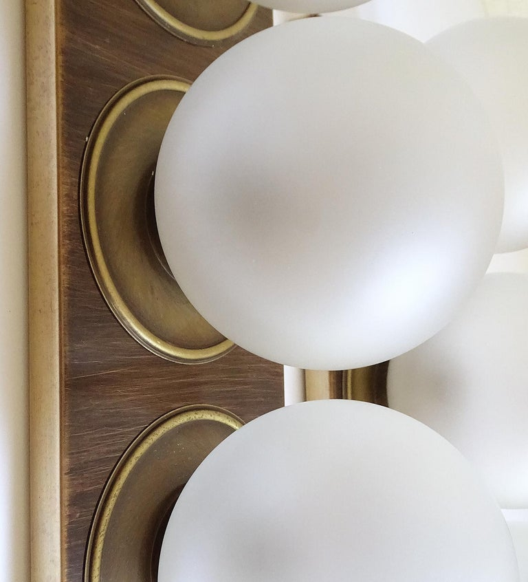 Pair Large MidCentury  Kaiser Glass Globe and Brass Sconces Wall Lights , 1960s For Sale 13