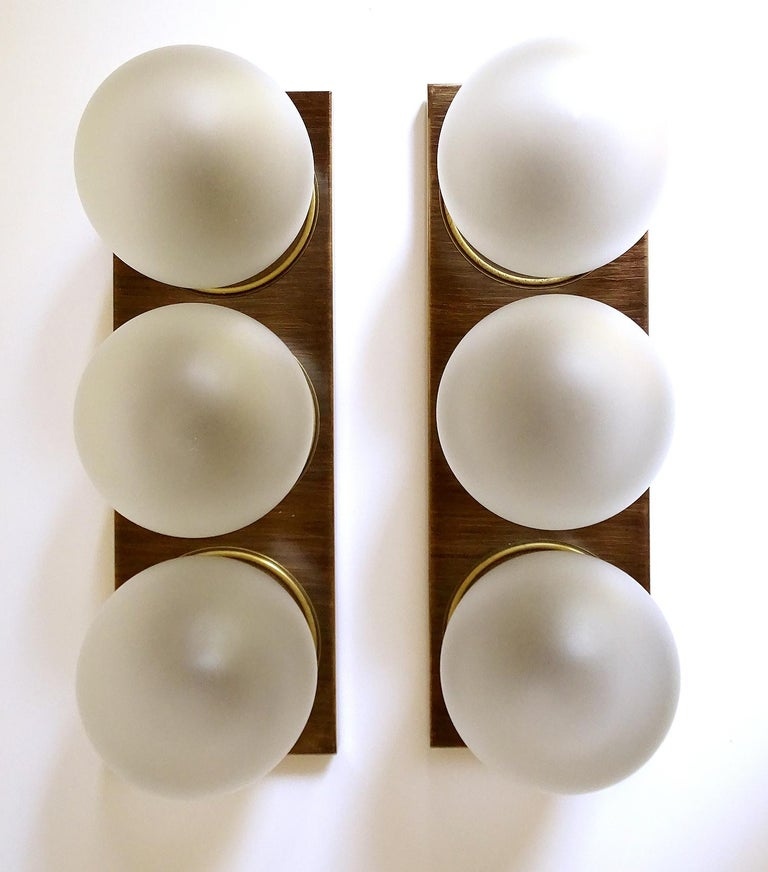 Mid-Century Modern Pair Large MidCentury  Kaiser Glass Globe and Brass Sconces Wall Lights , 1960s For Sale