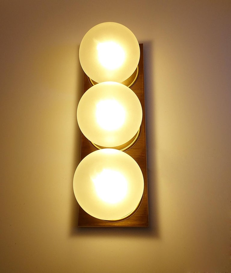 German Pair Large MidCentury  Kaiser Glass Globe and Brass Sconces Wall Lights , 1960s For Sale