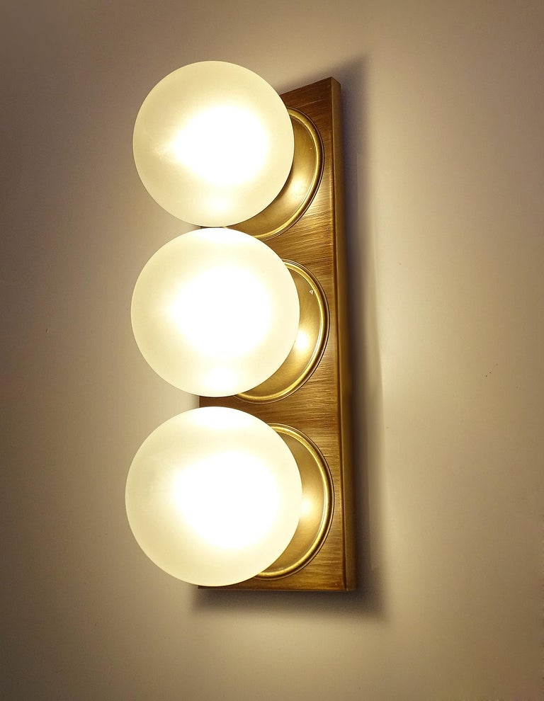 Pair Large MidCentury  Kaiser Glass Globe and Brass Sconces Wall Lights , 1960s For Sale 1
