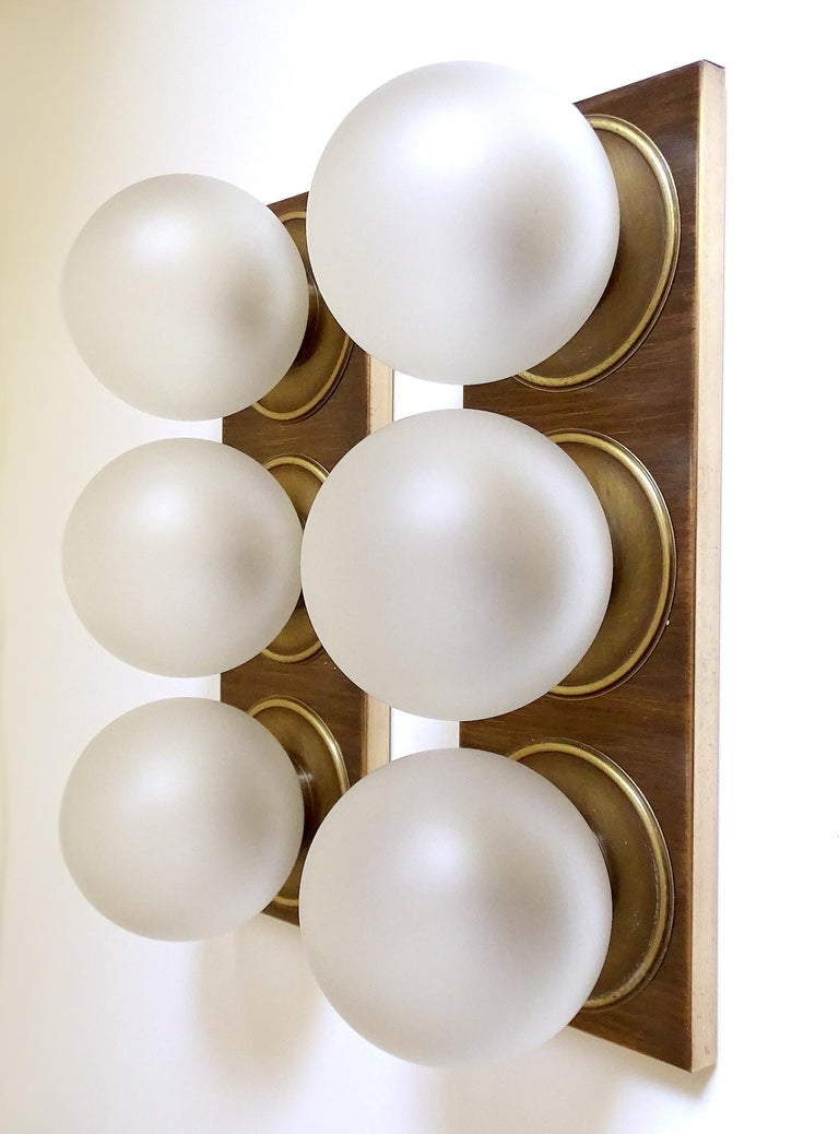 Pair Large MidCentury  Kaiser Glass Globe and Brass Sconces Wall Lights , 1960s For Sale 2