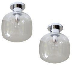 Pair  Large Midcentury  Limburg Bubble Glass Flush Lights Sconces, Gio Ponti Era
