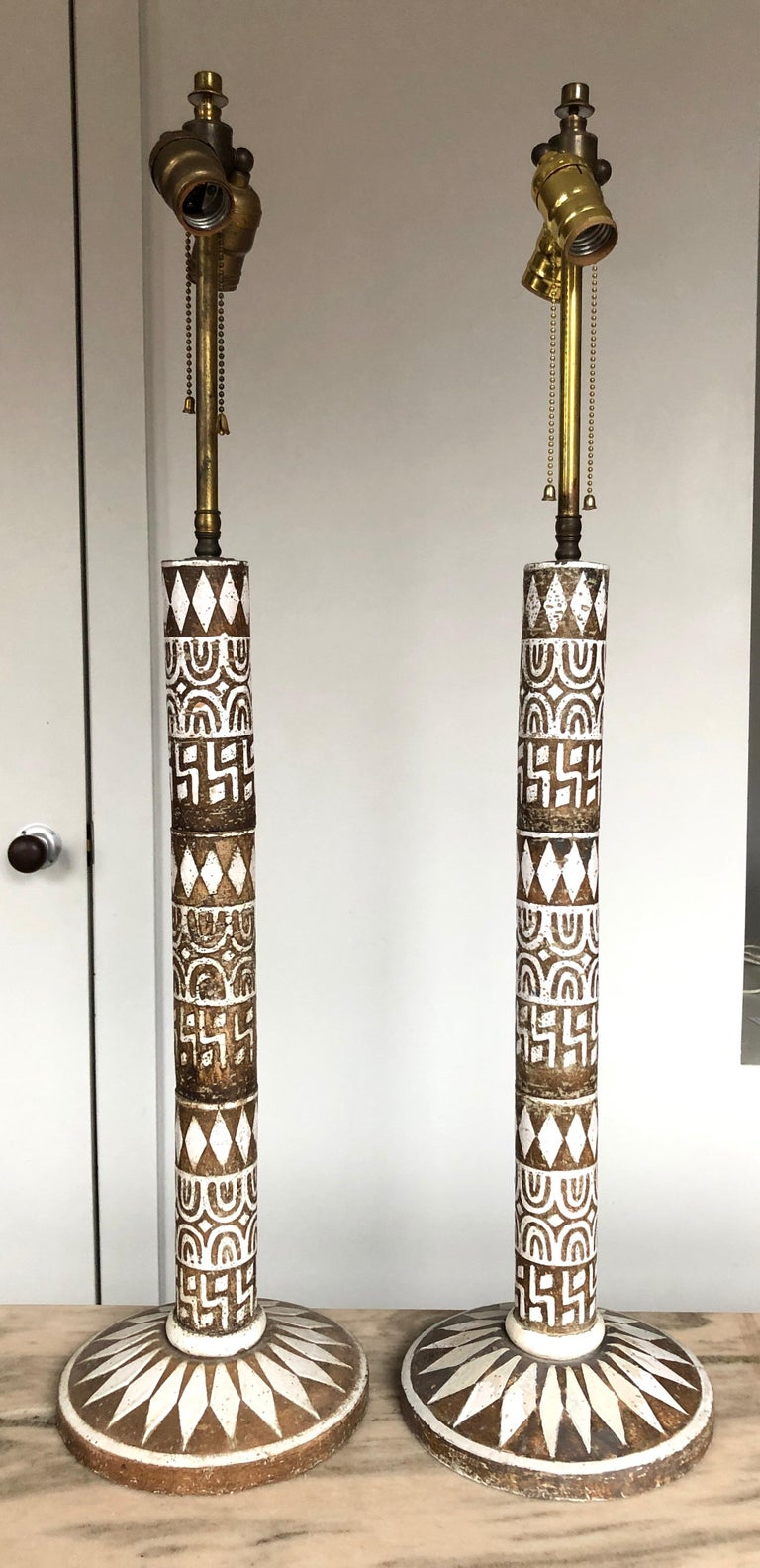 Italian Pair of Large Modernist Ceramic Table Lamps by Zaccagnini For Sale