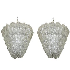 Pair Large Murano Italian Chandeliers with Glass Leaves