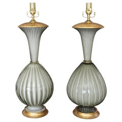 Pair of Large Murano Oliver Grey Cased Glass Table Lamps