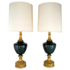 Pair Large Neoclassical Gilt & Green Cased-Glass Table Lamps