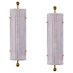 Pair Large Ridged Murano Glass and Brass Sconces
