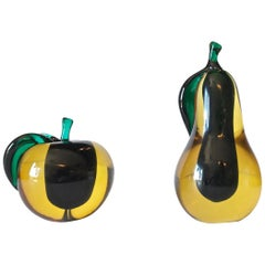 Pair of Large Salviati Murano Pear and Apple