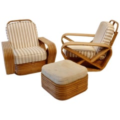 Pair of Large Six Band Tochiku Japan Bamboo Lounge Chairs with Ottoman