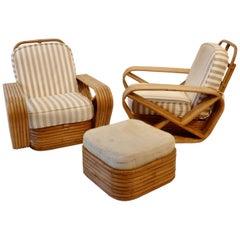 Pair of Large Six Band Tochiku Japan Bamboo Lounge Chairs with Ottoman