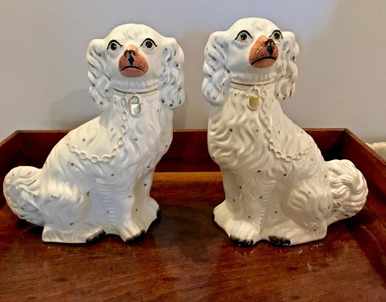 This is a large pair of mid-19th century English Spaniels in white and highlighted with a gold color and leash with a touch of gold to their heads. The dogs measure 12.75 in height and give a great decorative impact.