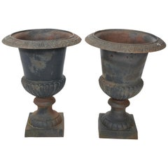 Pair of Large Victorian Style Cast Iron Urns