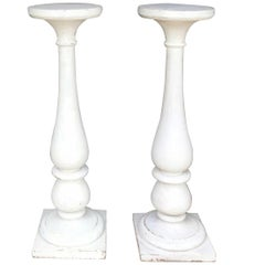 Pair Large White Louis XVI Pedestals