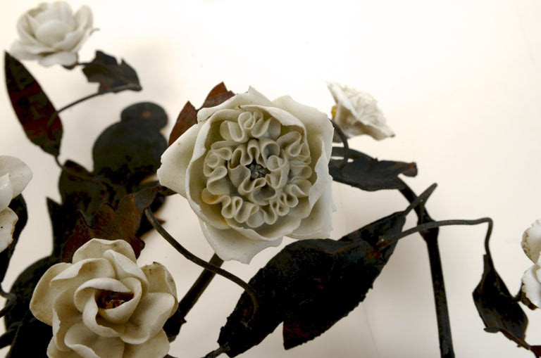 Late 18th Century French Tole Floral Sconces with White Porcelain Flowers, Pair For Sale 8