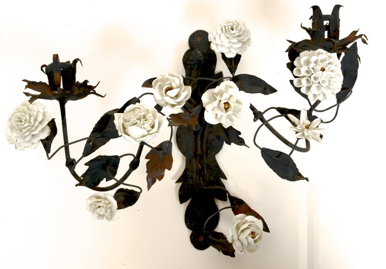 Late 18th Century French Tole Floral Sconces with White Porcelain Flowers, Pair For Sale 2