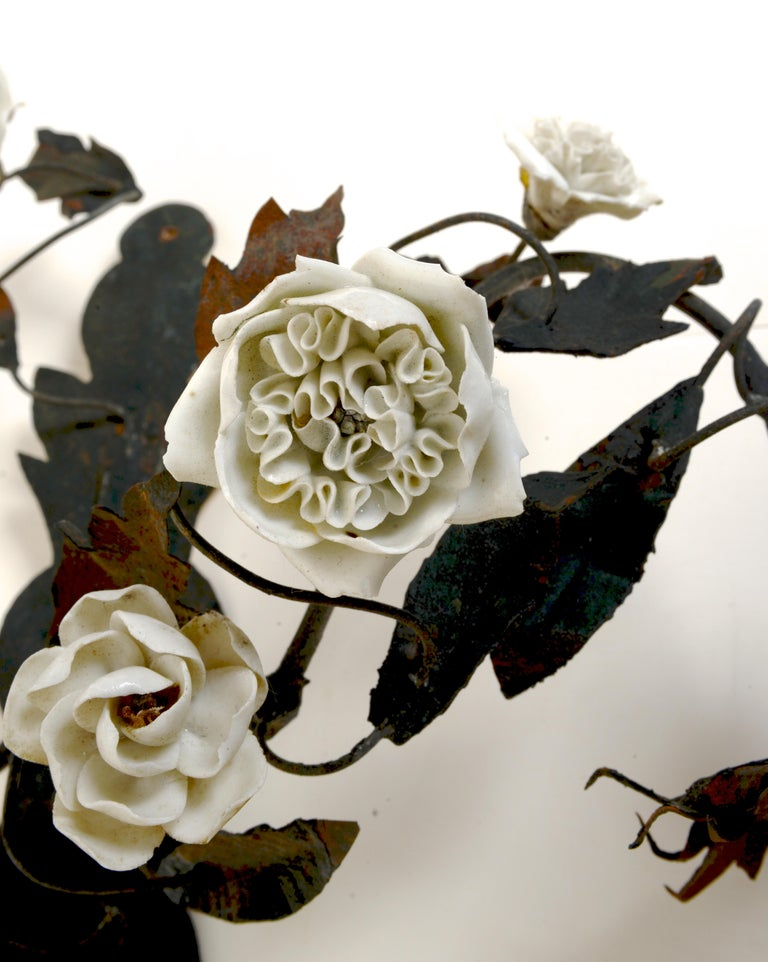 Late 18th Century French Tole Floral Sconces with White Porcelain Flowers, Pair For Sale 4